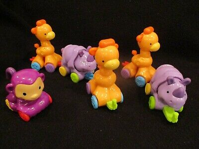"fisher price 6 amazing animals on wheels 3-5"" tall"