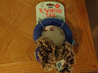New Bark A Winters Tail Barkbox Brunos Squeaky Wearable Earmuffs Plush Dog Toy