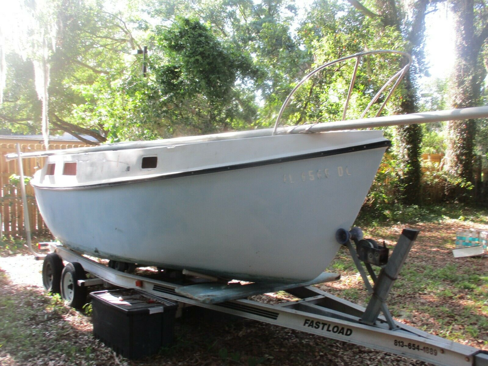 "1979 TERRAPIN  24.5"" Poptop Sailboat RARE FIND PROJECT ALUM. TRAILER KEYS BOAT"