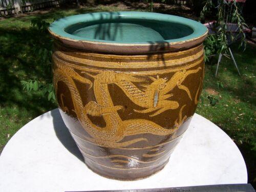 """Large 19"""" Chinese Bonsai Pot Flower Pot Brown Ceramic Two Dragons Celadon Glaze"""