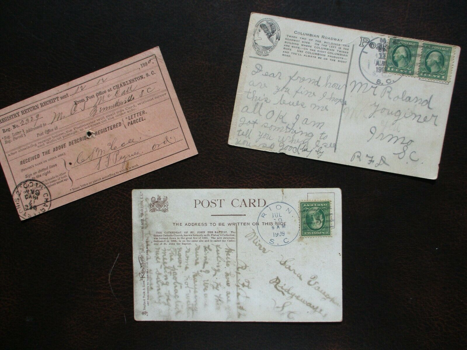 1890-1912 3 Rion,Irmo,Bennettsville,South Carolina Postmarked Signed Card Lot  - $19.99