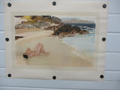 VTG W Russell Flint Print Fine Art Nude Woman On Beach