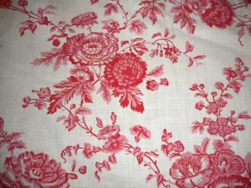 Antique French Floral Cotton Fabric ~ Rose Pink Red ~ Paul Dumas Francaise