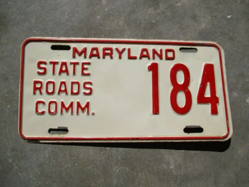 Maryland  State Road Comm. license plate  #   184