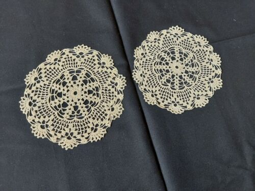 ANTIQUE Beautiful Vintage PAIR of Cotton Crocheted Lace DOILIES Handmade Beige