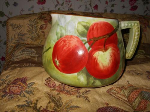 American Belleek Pitcher Artist E. Bennett~Hand Painted Apples Pristine~