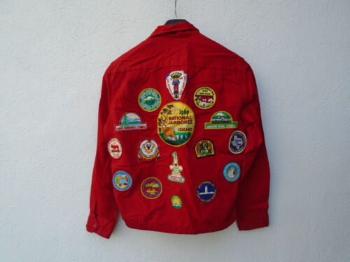 Vintage 60s Red BOY SCOUTS OF AMERICA Official Jacket Heavy Cotton Size M