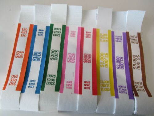 $50, $100, $200, $250, $500, $1000, $2000, $5000 ~ CURRENCY STRAPS/BANDS 0