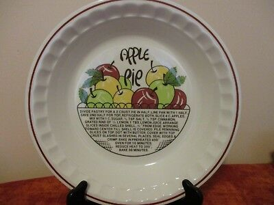 Hankook Apple Pie Recipe Plate Deep Dish Super Strong Hi Tech China 10-1/2
