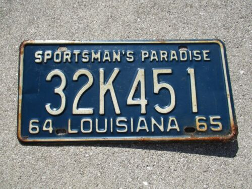 Louisiana 1964 / 65 license plate #  32K 451