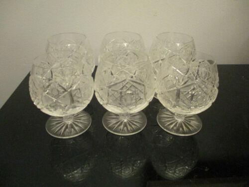 "Set 6 VINTAGE BOHEMIAN CZECH CUT CRYSTAL 3 3/4"" BRANDY SNIFTERS / COGNAC GLASSES"