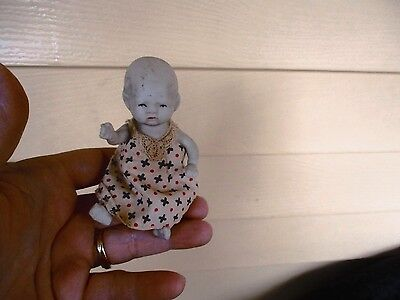 """Antique all porcelain bisque 4 1/2""""  made in Japan baby doll"""
