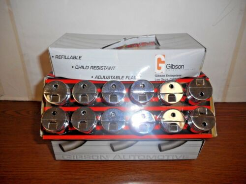 GIBSON AUTOMOTIVE DISPLAY OF 24 REFILLABLE METAL PISTON LIGHTERS BRAND NEW