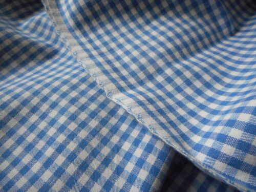Vintage French Blue White Gingham Check Plaid Loom Woven Cotton Fabric ~