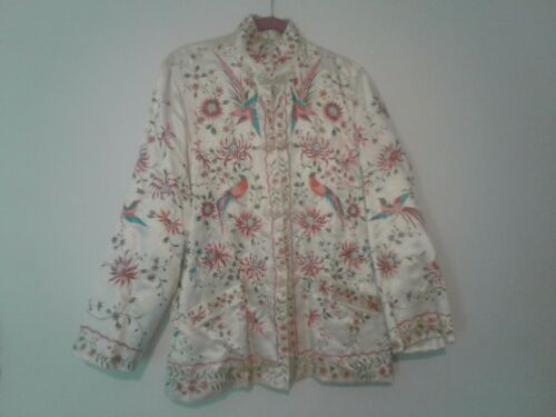 Lovely White Vintage Asian Silk Embroidered Jacket Size 44