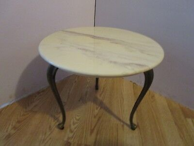 """Used, Hollywood Regency Faux marble top table by Marblecraft 1960's Queen Ann legs 18"""" for sale  Oshkosh"""