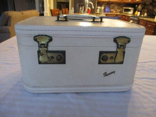 Vintage Off White SkyWay  Vanity Train Travel Luggage Case