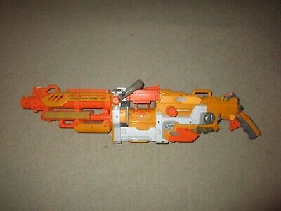 NERF VULCAN EBF-25 SOFT DART GUN N-STRIKE YELLOW USED WORKS ORANGE
