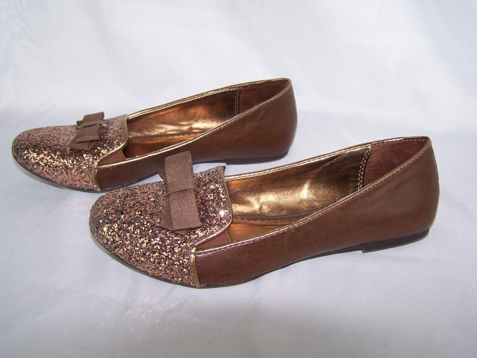 Nine West Women's 4.5 Brown Glitter Slip On Shoes Flats