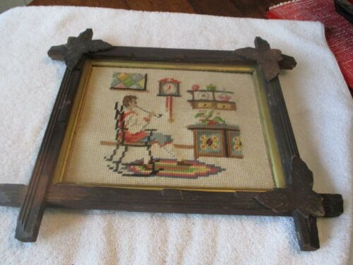 Adirondack  wood framed  vintage cross stitch sampler. Wonderful colors