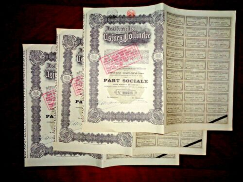 Nouvelles Usines Bollinckx share certificate Belgium  1926  x 3