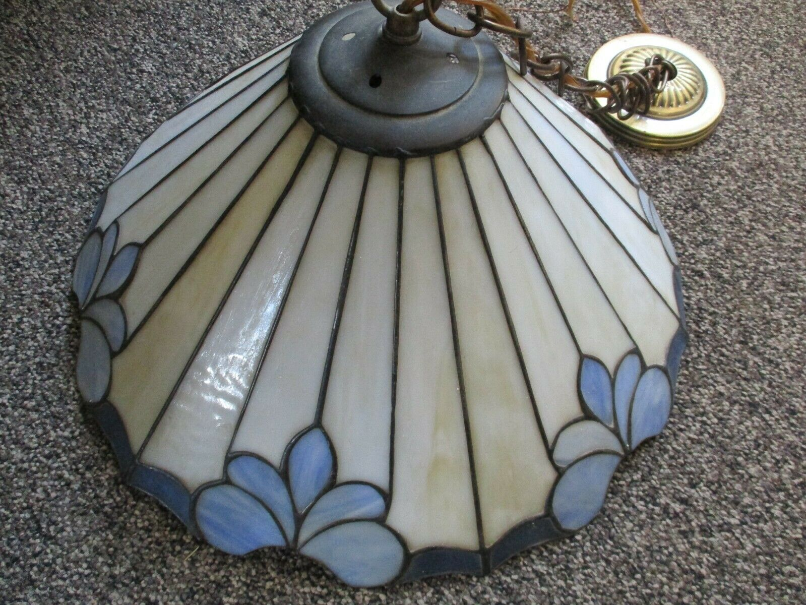 """Vintage 18"""" Stained Glass Hanging Ceiling Pendant Light~ Cream And Blue"""