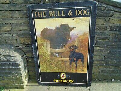 """Old original vintage pub sign, """"Bull & Dog"""", home bar, mancave, delivery poss"""