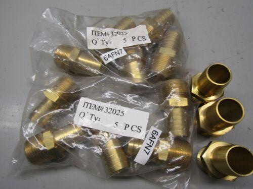 """Grainger 6AFN7 Brass Hose Barb 1"""" Thread Lot of 13!"""