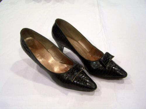 Evins black snakeskin heels/pumps/shoes, sz. 8, made for I. Magnin, vintage