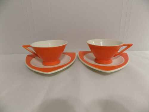 Salem China Tricorne Streamline Orange Art Deco 2 Cups 2 Snack Plates Saucers
