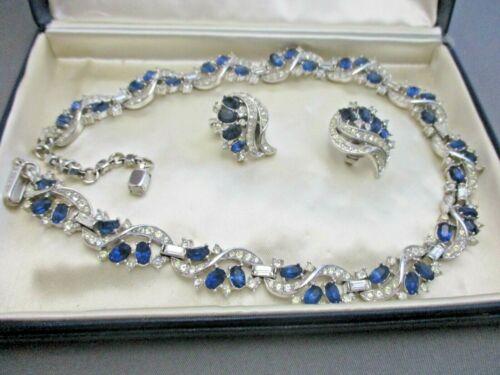 TRIFARI  EXQUISITE  BLUE/CLEAR  RHINESTONE NECKLACE & EARRINGS, Higbee Co.