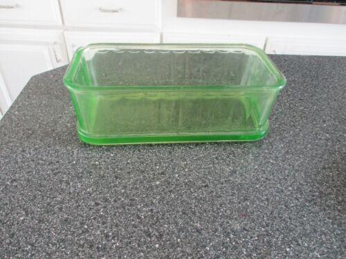 Vintage Green Depression Uranium Glass Refrigerator Dish *no lid