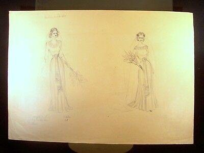 Flower Girls 1949 Original Pencil Sketch by C. Schattauer Kelm