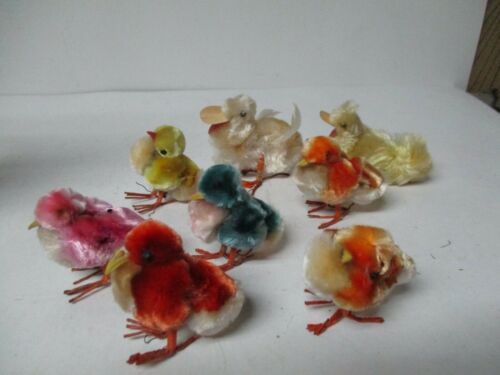 8 Vintage Easter Chenille Chicks & Ducks w Wire Feet