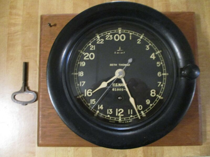 Vintage WWII Seth Thomas U.S. Navy (61009-E) 24 Hour Clock***Rare***Made in USA