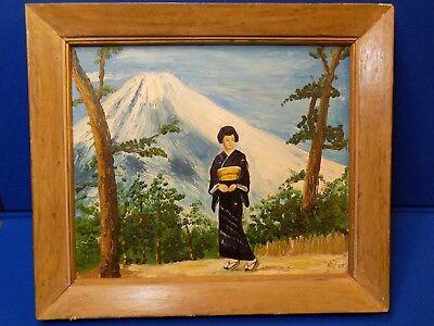 Mount Fugi Japan Japanese Lady Oil Painting Geisha Oriental Art Original Signed