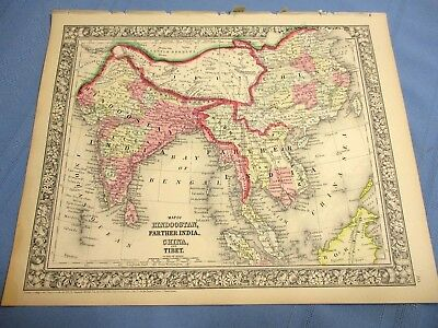 1865 Colored Map - CHINA, INDIA, TIBET - HINDOOSTAN !!!