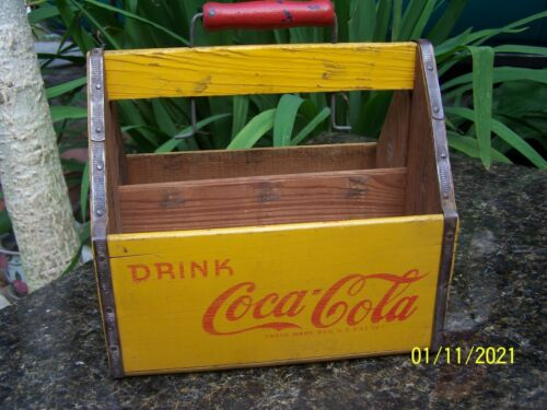 1940s WW2 Drink Coca Cola 6 Pack Wood Carrier Crate War Wings