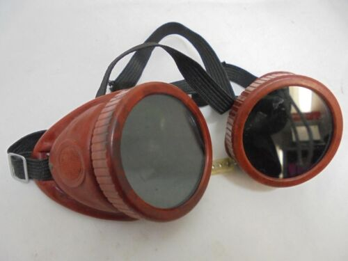 Vintage Welder Goggles Steampunk Glasses Green & clear Lenses, Made USA