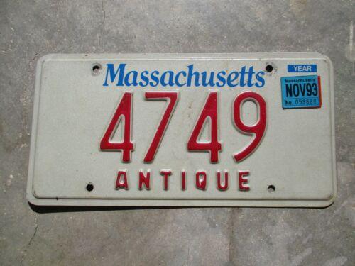 Massachusetts 1993 Antique License Plate   #  4749