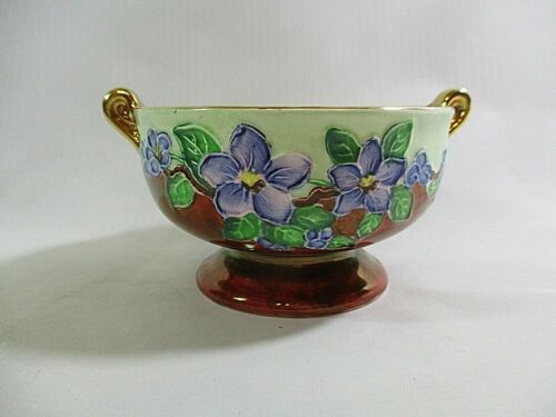 Vtg. Maling Newcastle On-Tyne England Floral Lustre Open Sugar Bowl