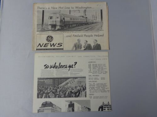 Lot of 2 vintage Railroad news 1969 and 1976 Bicentennial and Washington