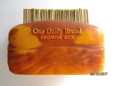 Vtg Our Daily Bread Promise Box Bible Verses 1940S Or 50S Plastic Bread Loaf