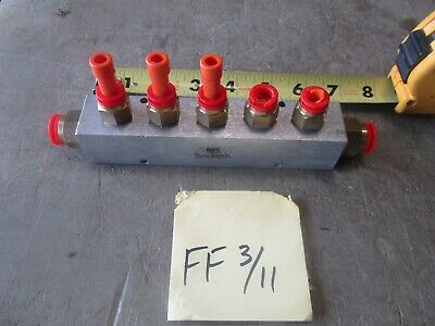 Used 6 Air Pneumatic Distribution Manifold Scuffs Free Shipping