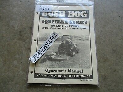 Bush Hog Sq420 480 600 720 840 84t Squealer Rotary Cutter Operators Manual