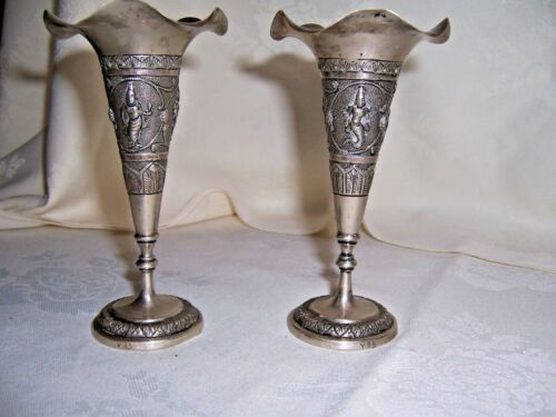 2 FABULOUS ASIAN SOLID SILVER VASES WITH MYTHICAL FIGURES, MERMAN GRACEFUL FORM