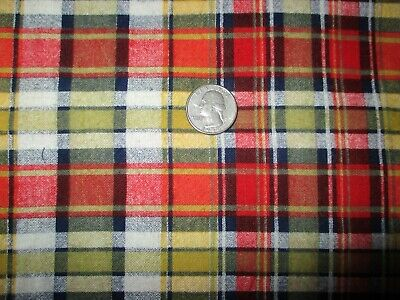 BTY Vintage Plaid Cotton Red Blue Yellow Flannel Fabric - $9.50