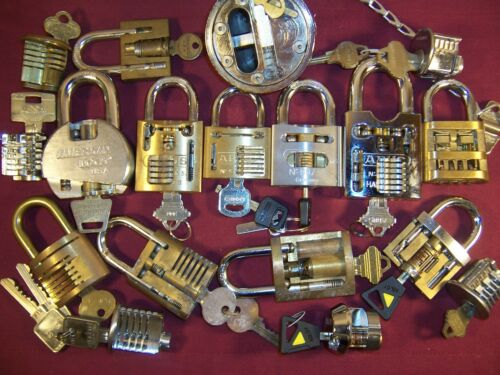 Salesman Sample High Security Cutaway Lock Padlock Display Collection
