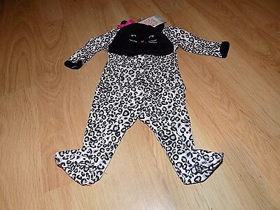 Size Newborn NB Carter's Cheetah Leopard Cat Halloween Costume Sleeper w Hat New
