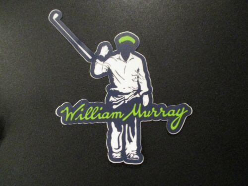 "WILLIAM MURRAY Golf bill Blue Green White Invisible Man 4.25X3.75"" STICKER decal"